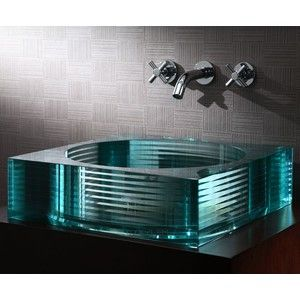 Xylem Bathroom Faucets gv105rsq - segment square glass vessel - xylem | turquoise