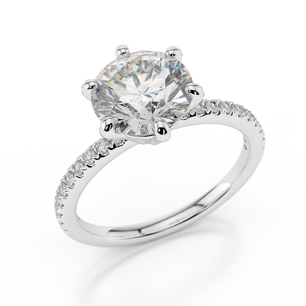 Diamond Engagement Ring with Side Stones Model: Helena with 1 Carat Round Cut set in 14K White Gold designed and manufactured by Brillianteers.