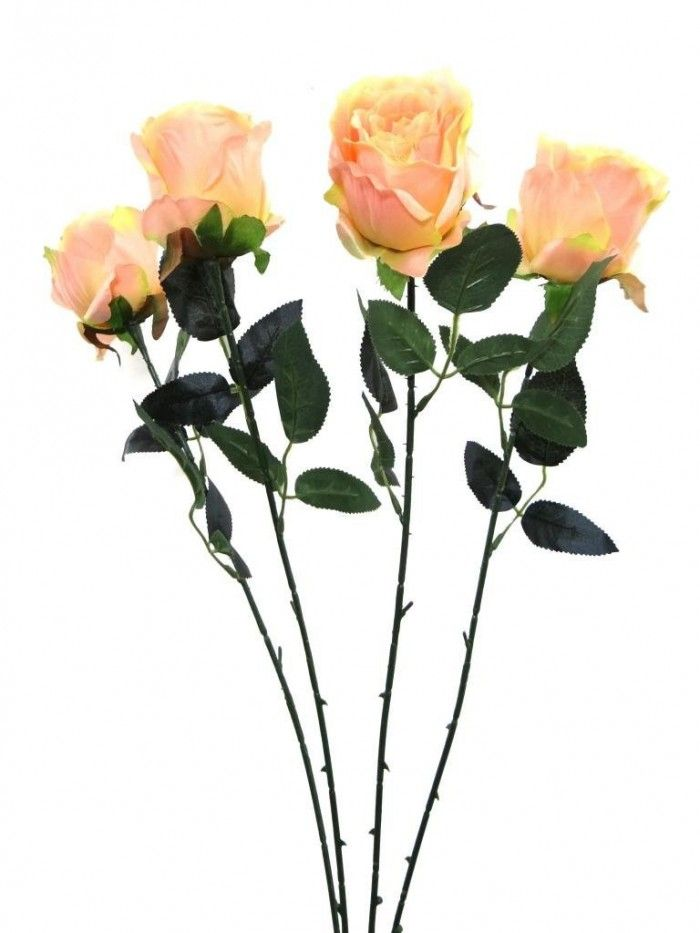 Synthetic Single Open Rose Peach Flowers Online Artificial Flowers Flower Decorations