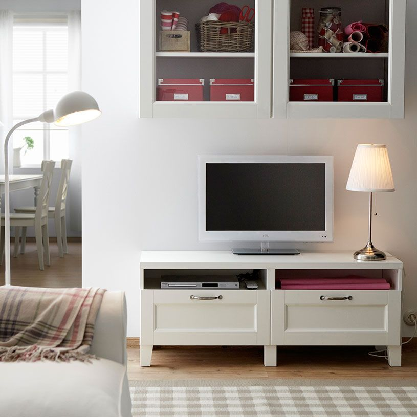 Mueble de tv best blanco con cajones y armario de pared - Sofas con cajones ...
