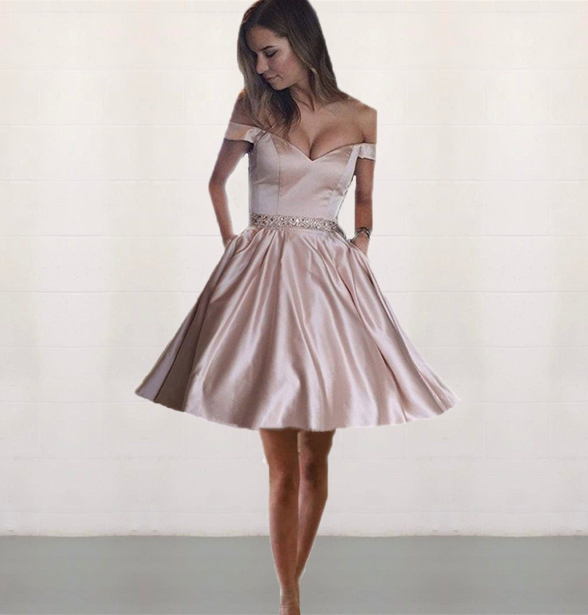pink homecoming dresses,off shoulder prom dress,elegant party dress ...