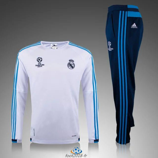 equipement football nouveau Champions league Survetement Real Madrid Blanc  2016 en ligne be02b500f58ba