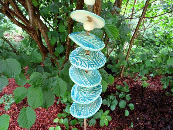 keramik windspiel round about blau garten dekoration von. Black Bedroom Furniture Sets. Home Design Ideas