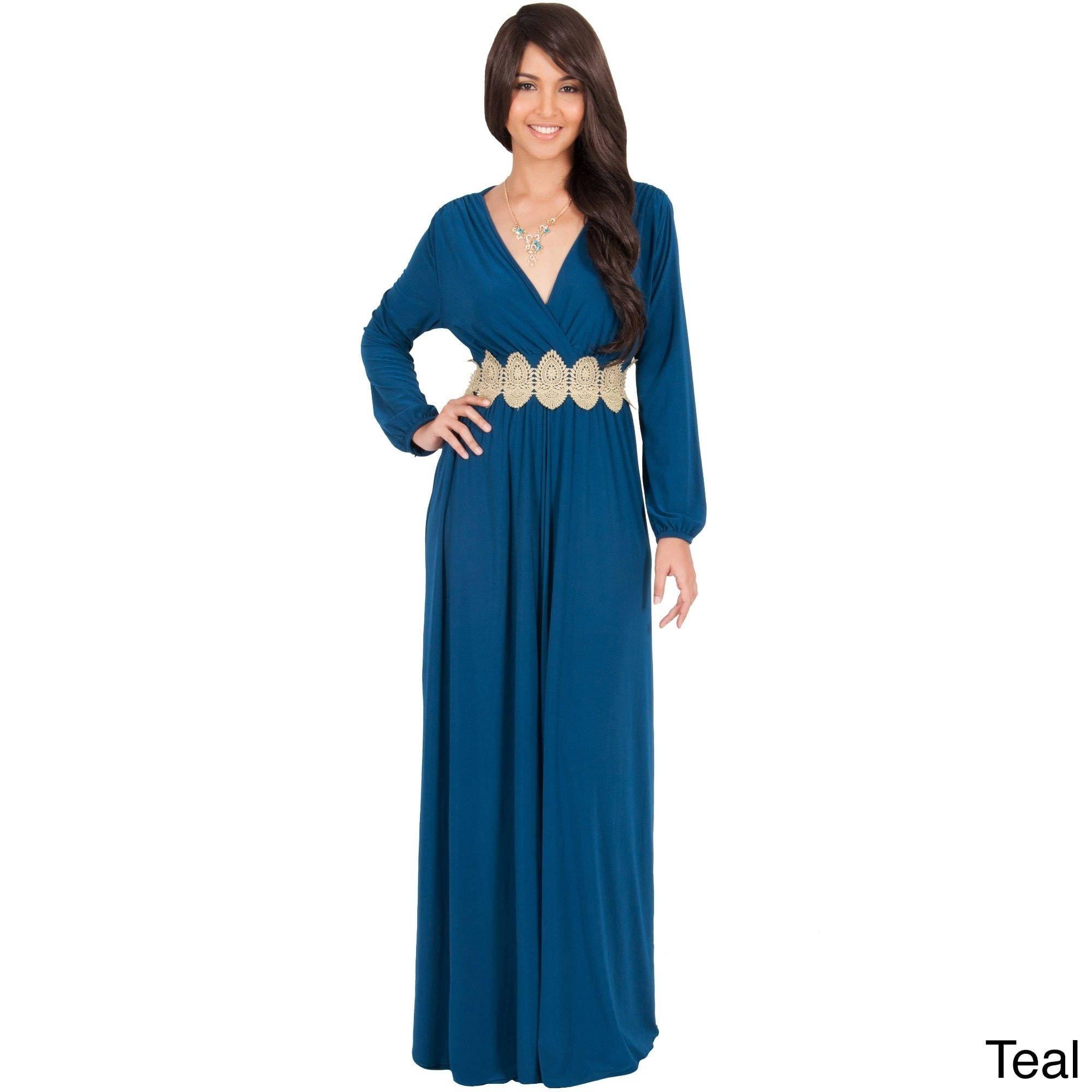 Global koh koh womenus longsleeve vneck maxi dress fashion