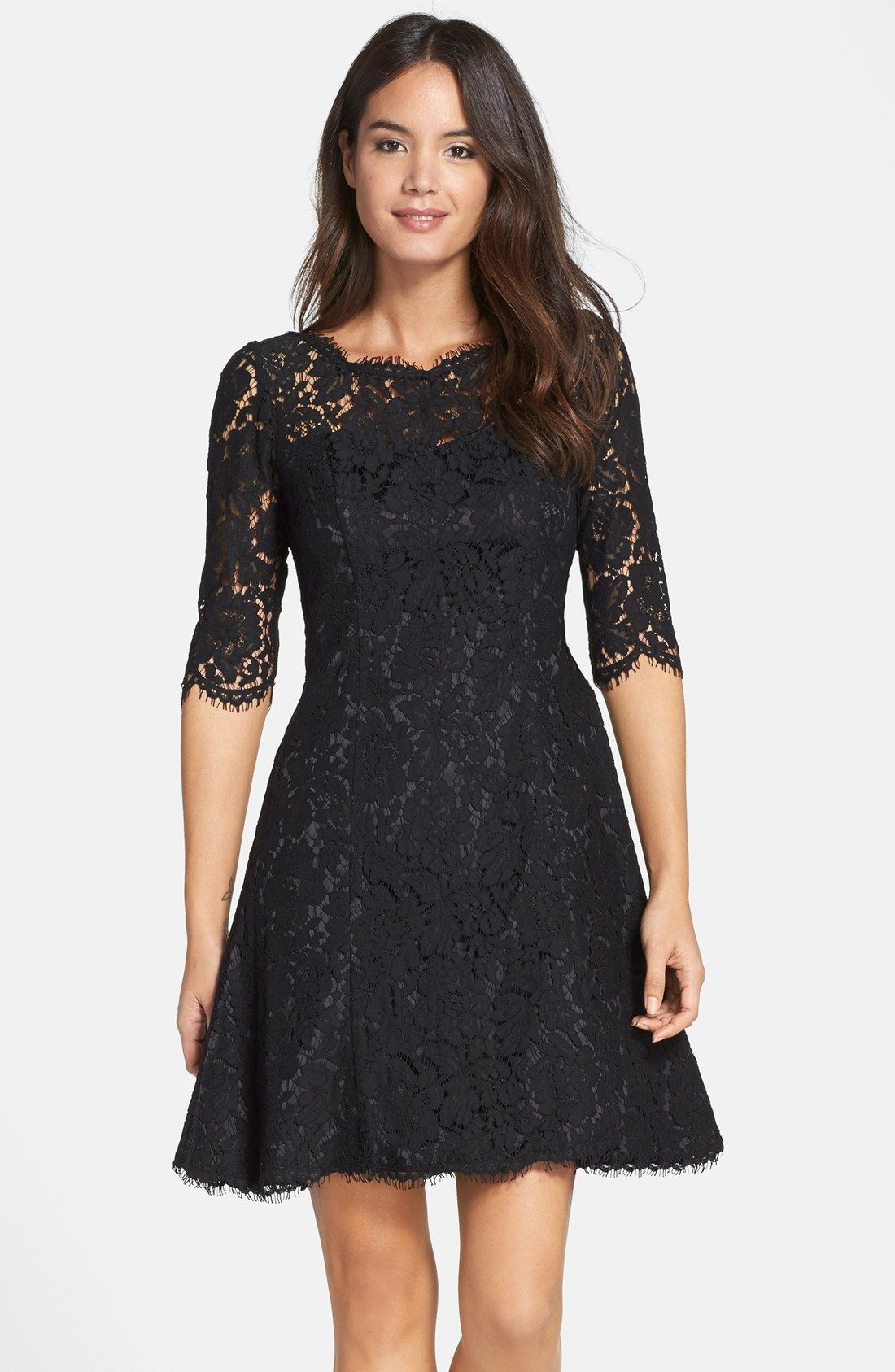 Lace Fit & Flare Dress | Nordstrom, Petite and Lace dress
