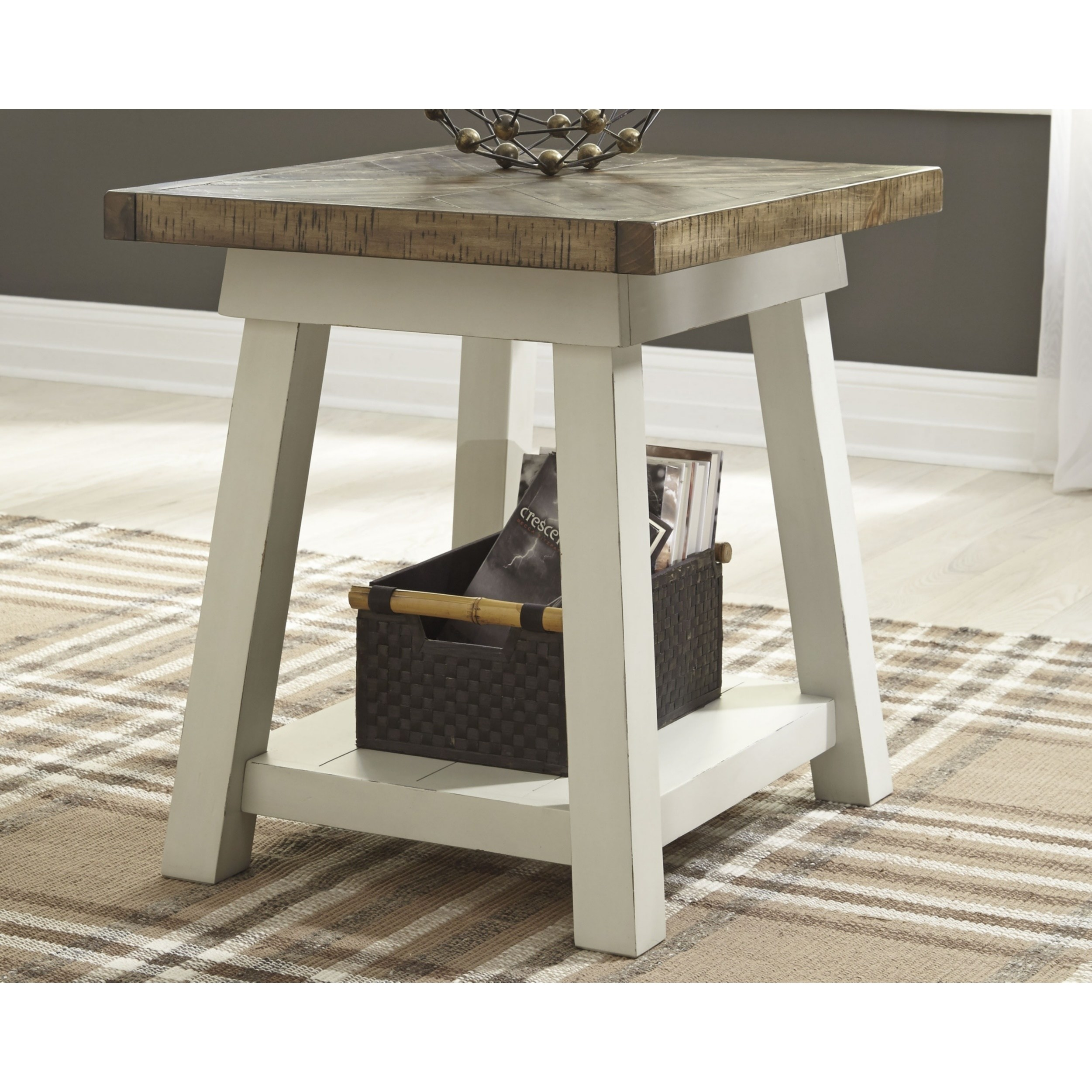 Stownbranner Twotone Casual End Table (Two Tone), Beige