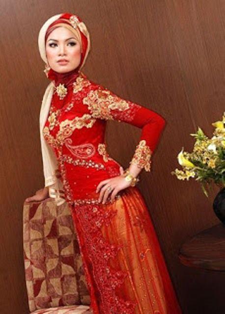 Gaun Pengantin Muslimah Warna Merah Kebaya Pinterest Kebaya