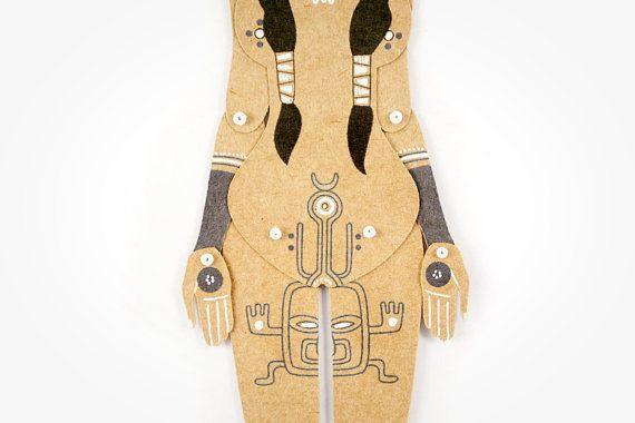 Tattooed Tribal Girl articulated art paper doll hand от mooncoocoo