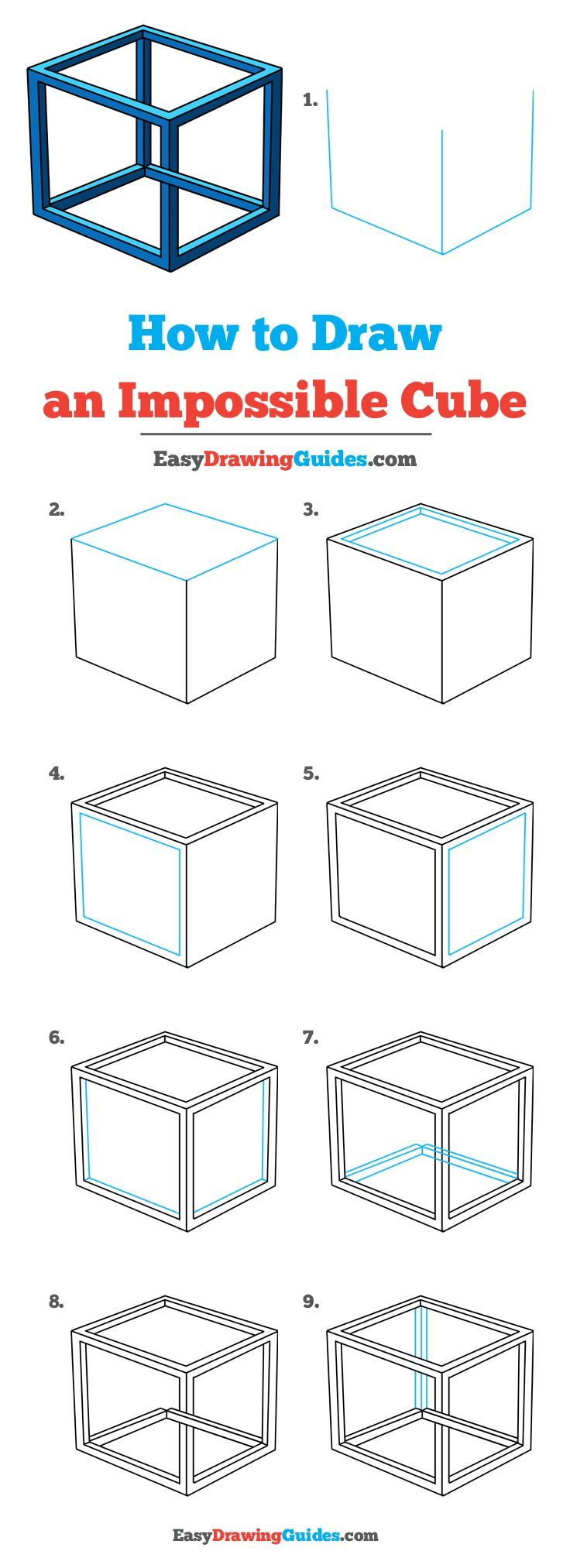 How to Draw an Impossible Cube Really Easy Drawing