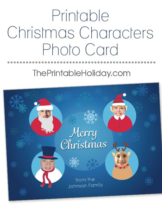 This funny Christmas template is a fun way to change up your usual yearly photo card! Insert each of your family members into one of the character's faces: Santa, his elf, a snowman and a reindeer. Use pictures that showcase your smiling faces, or make the card even sillier with photos of everyone goofing off. It is sure to be the most unique and funny card that your friends and family receive this year! | Printable Christmas Characters Photo Card from #ThePrintableHoliday