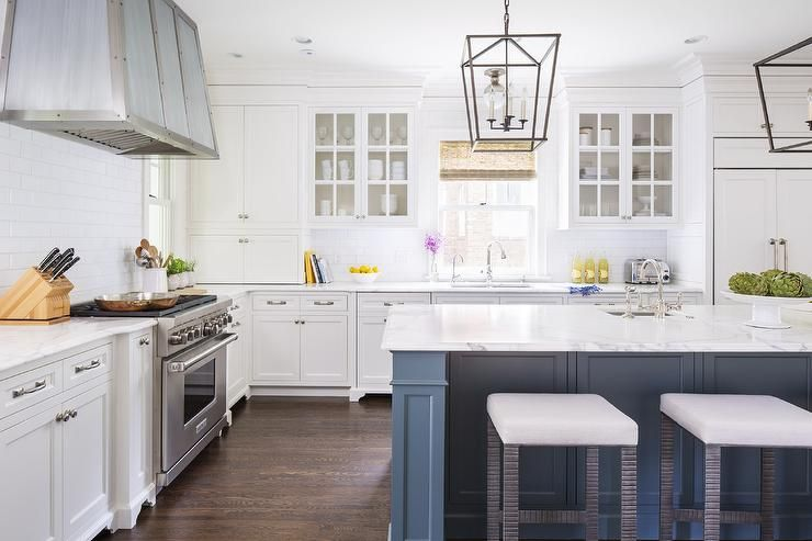 Chic Kitchen Features White Cabinets Painted Benjamin
