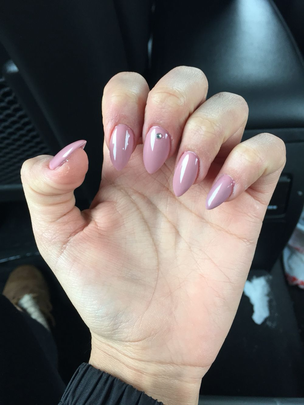 Nude nails with a stud #nails #stiletto #nude