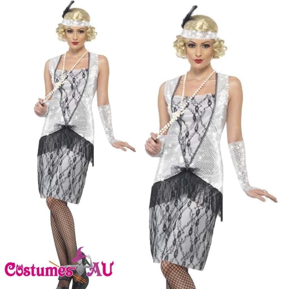 Ladies 20s 1920s Charleston Flapper Chicago Sequin Ganster Fancy Dress Costume