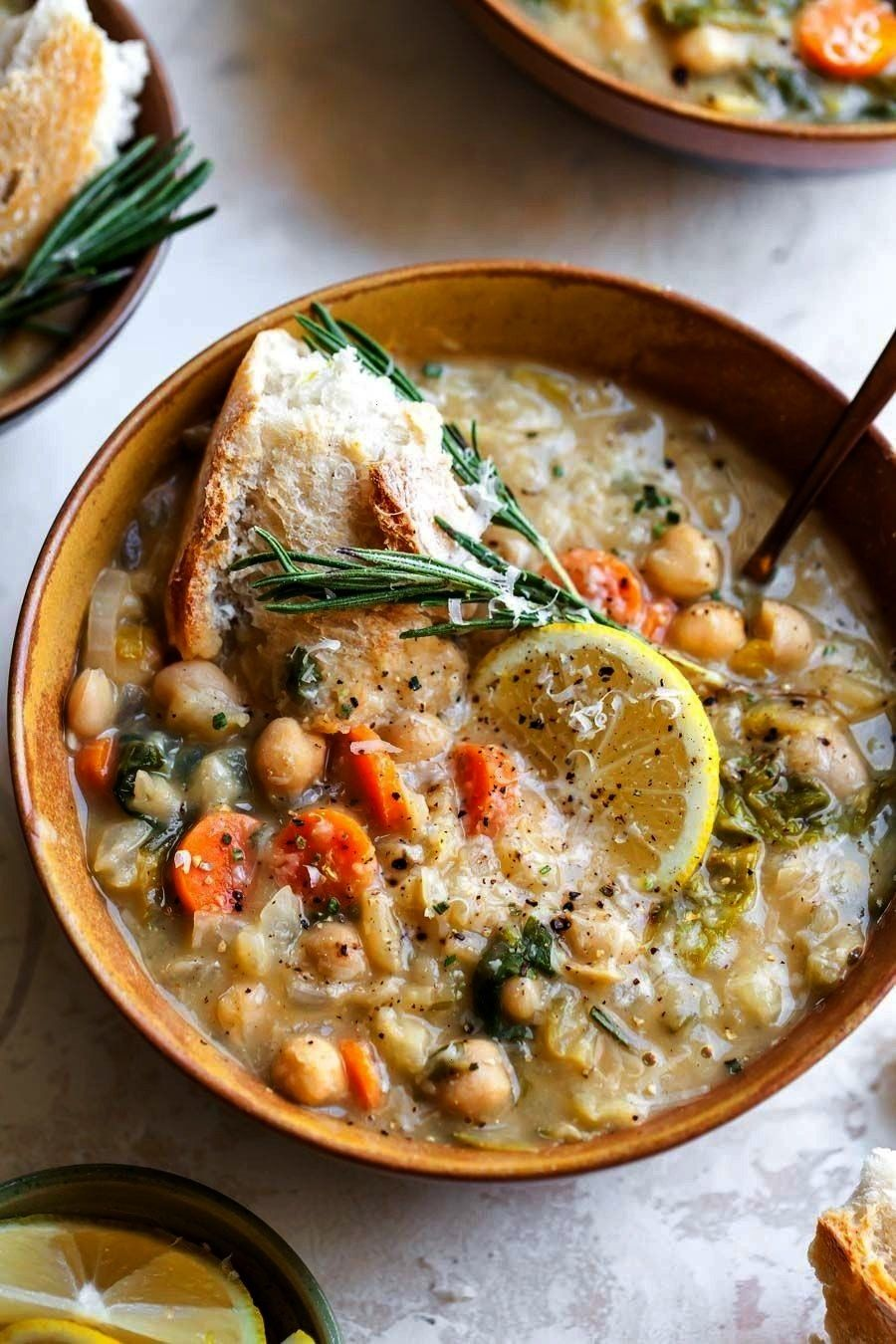 Bean and Lemon Soup is a vegetarian, fiber-filled meal ready in just 40 minutes. A one-pot meal per