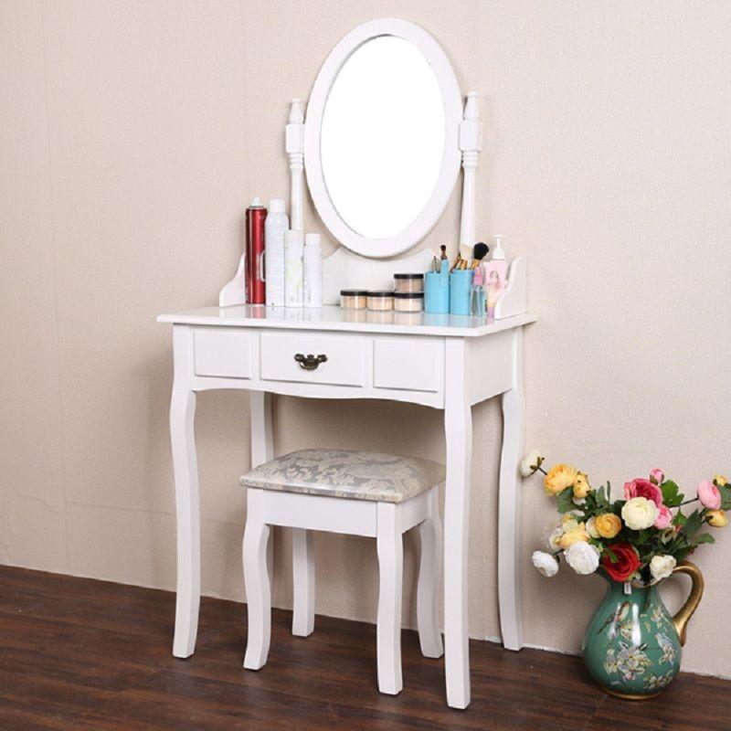 우아한 화이트 드레싱 테이블 메이크업 책상 의자 라운드 거울 세트 최고의 선택 침실 가구
