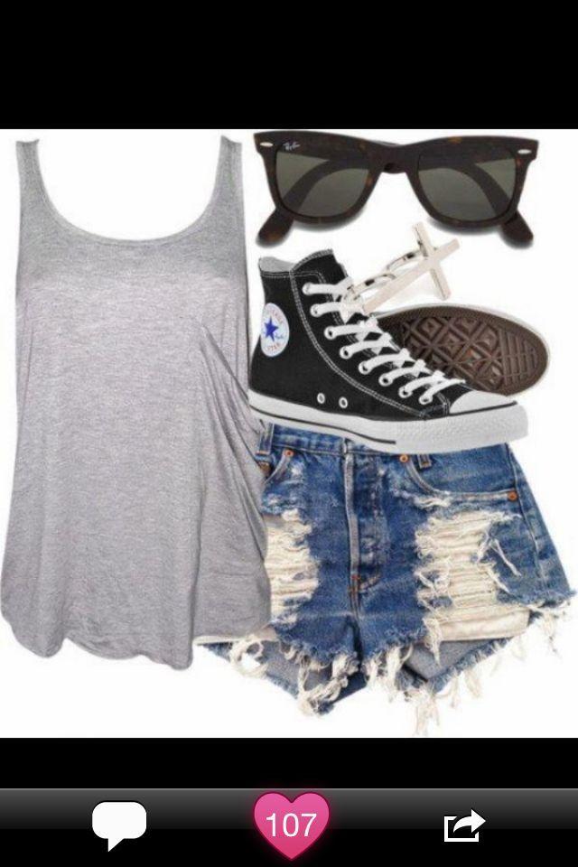 80ee5203207 Cute summer outfit converse all star high tops denim ripped shorts black  wayfarer shades