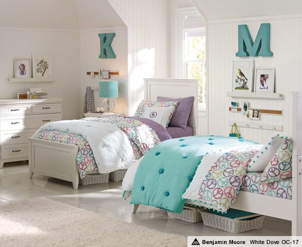 Pbteen Good Idea For Shared Space Love The Metal Wall Letters Shared Girls Bedroom Shared Girls Room Twin Girl Bedrooms