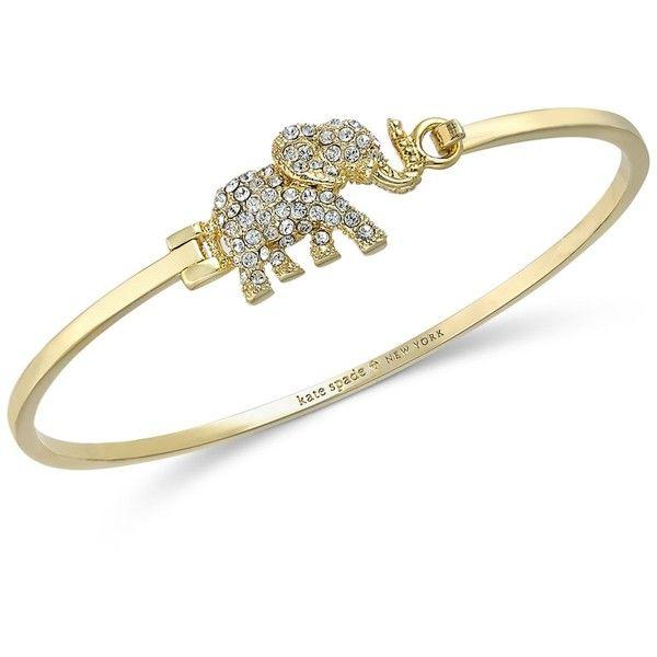 kate spade new york Gold-Tone Pave Elephant Bangle Bracelet ($88) ❤ liked on Polyvore featuring jewelry, bracelets, gold, elephant bangle bracelet, kate spade, pave jewelry, hinged bangle bracelet and bracelet jewelry