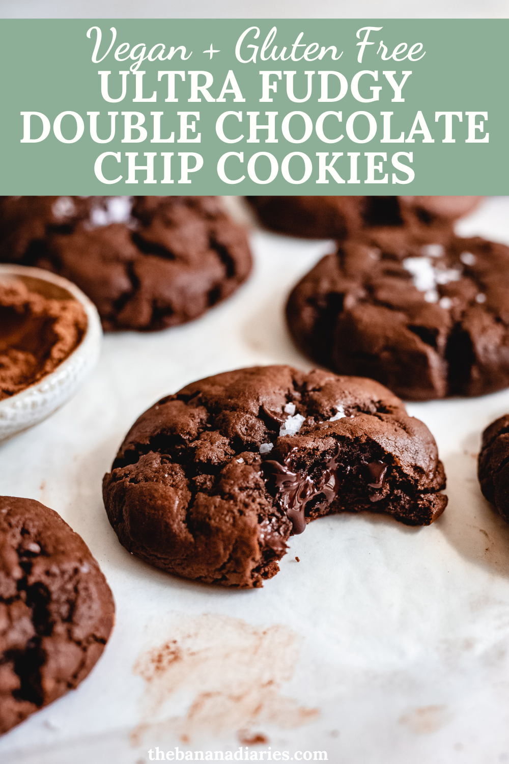 Photo of Super Fudgy Vegan Double Chocolate Chip Cookies