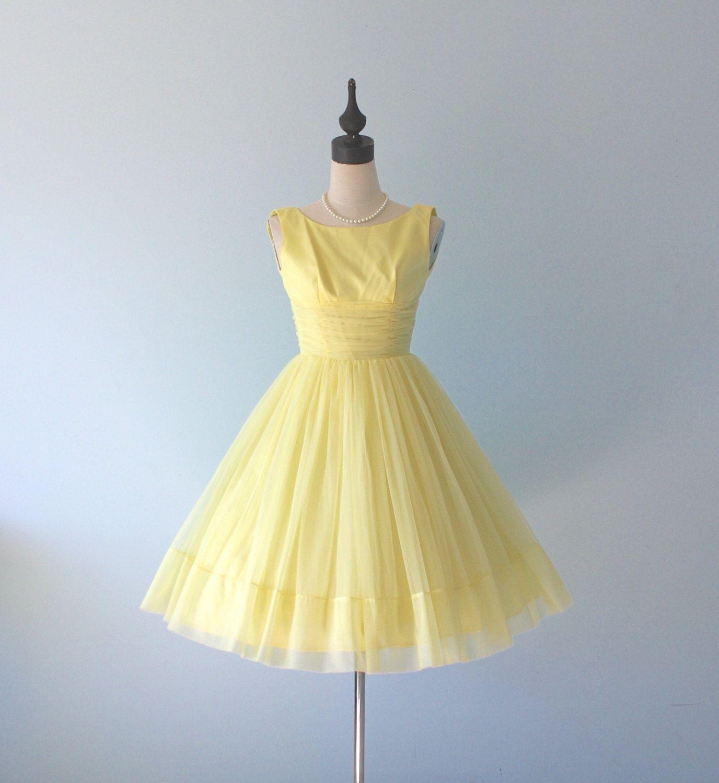 Vintage 1960s Yellow Prom Dress 60s Sheer Chiffon Satin Full Skirt Nipped Waist Formal Evening Party Dre Yellow Party Dresses Prom Dresses Yellow Dresses [ 1500 x 1376 Pixel ]