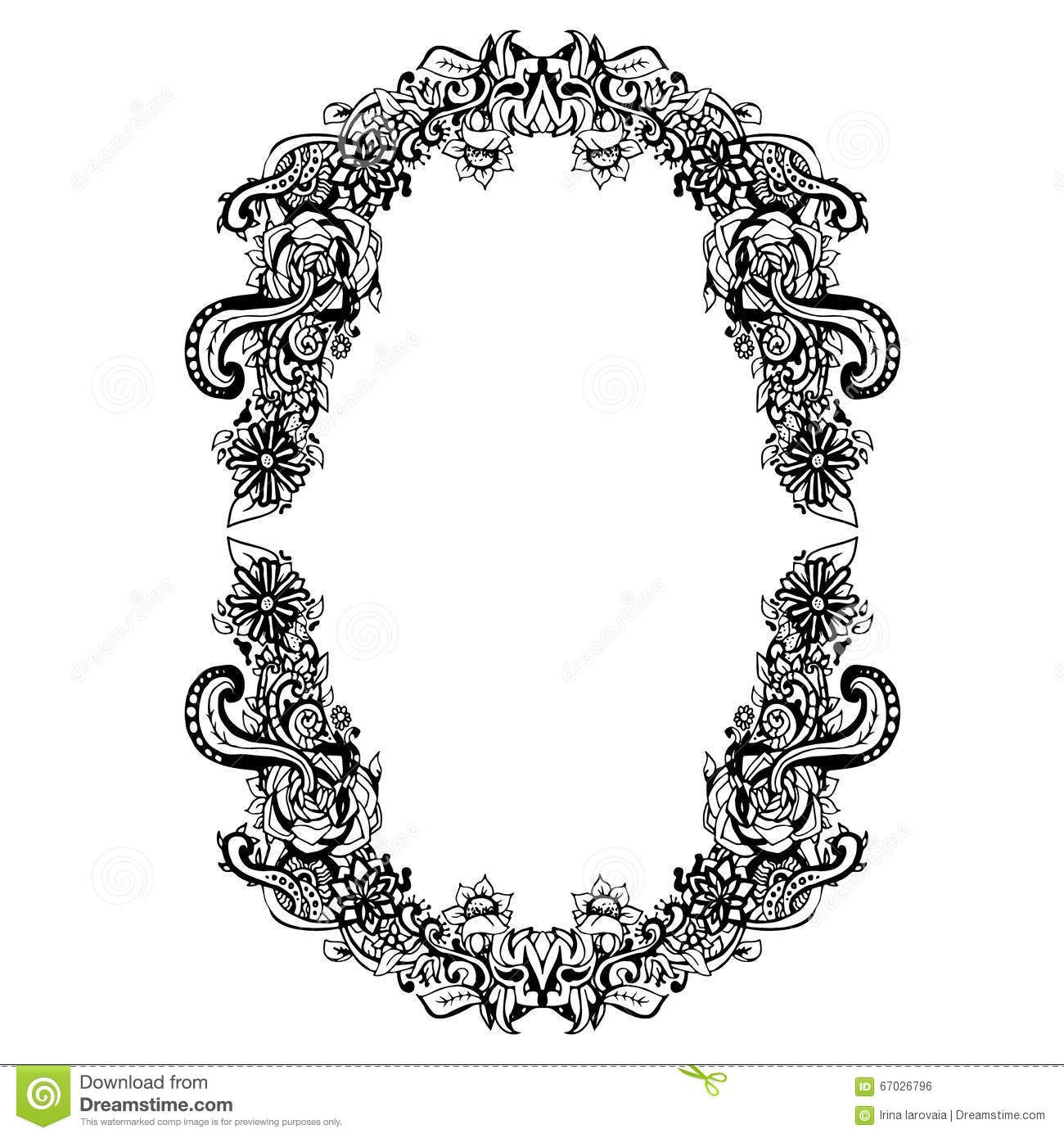 Abstract Black White Floral Frame Vector Illustration Oval