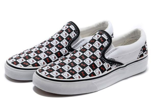 Summer Vans Limited Edition Hello Kitty Graffiti Black White Red Classic Checkerboard  Slip-On Skateboard Canvas Women Sneakers  YV53  -  39.99   Vans Shop e79ba6c62