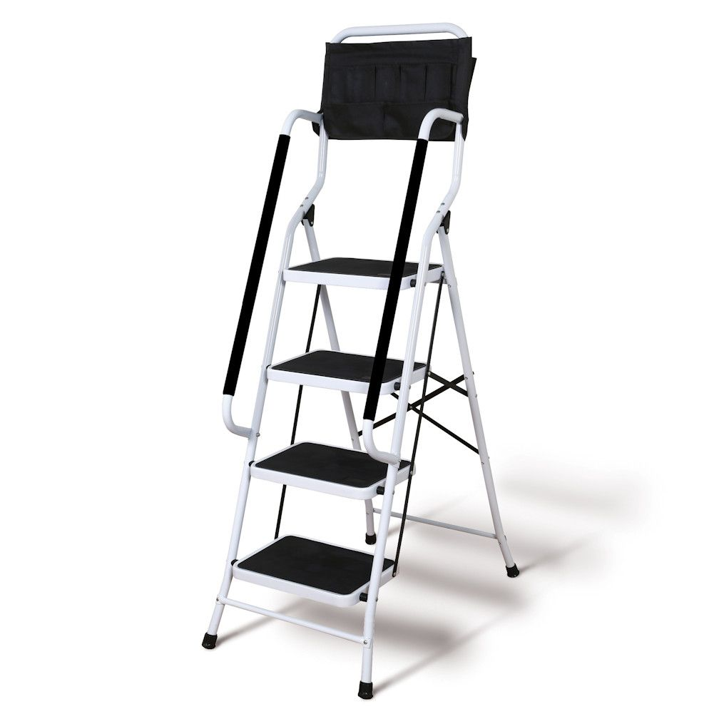 Support Plus Folding 4 Step Safety Step Ladder Step Stool With Padded Side Handrails Tool Pouch Caddy Wide Steps Walmart Com Safety Ladder Step Ladders Folding Step Stool