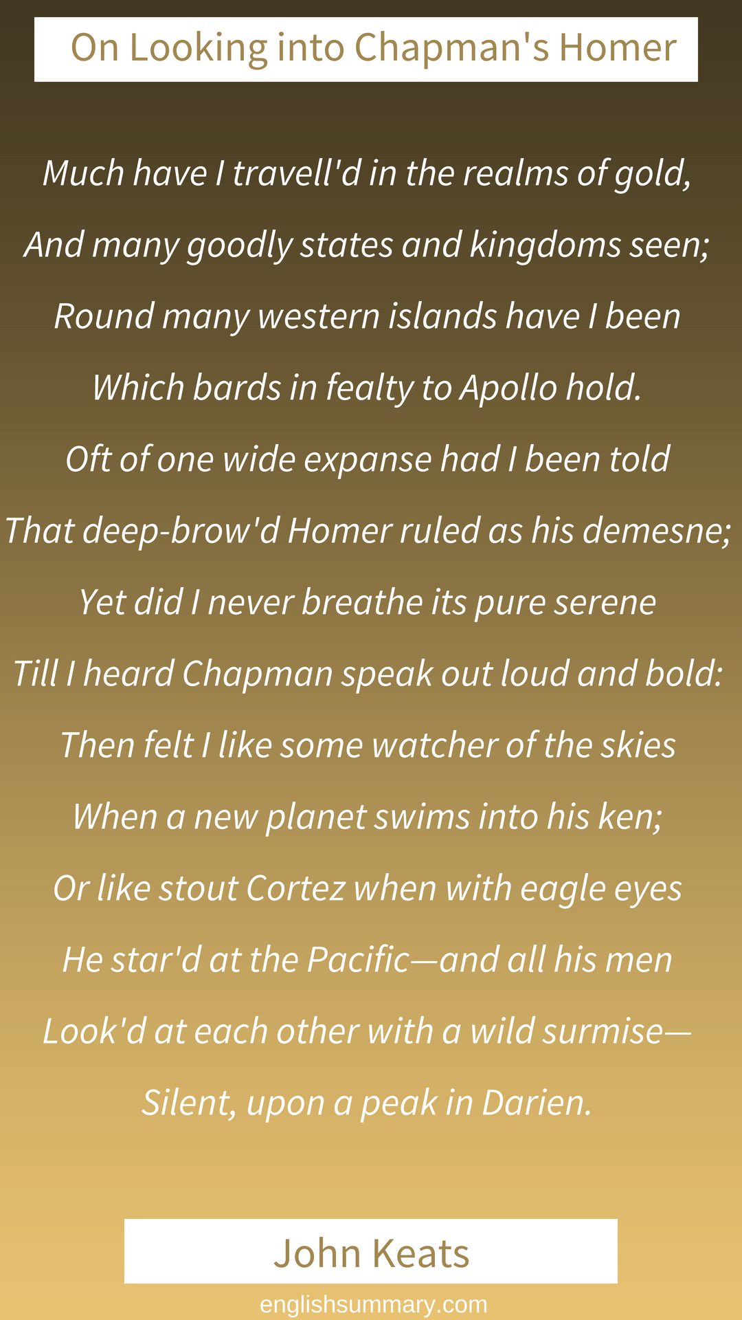 On First Looking Into Chapman S Homer By John Keat Romantic Poets A Thing Of Beauty Theme