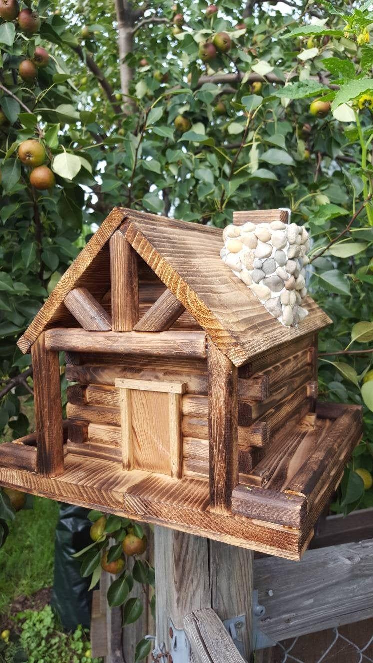 Bird Feeder, Log Cabin Style with Stone Chimney Bird