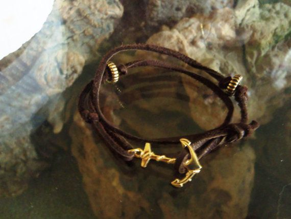 Brown Leather Wrap Around Bracelet with Gold by LittleBoxofJules, $15.00