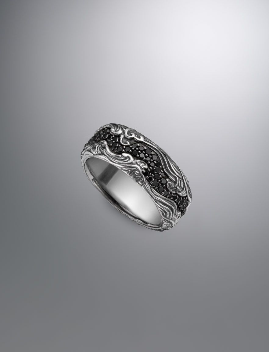 onyx wedding band David Yurman Waves Band Ring Black Diamond 10 5mm size 9 1