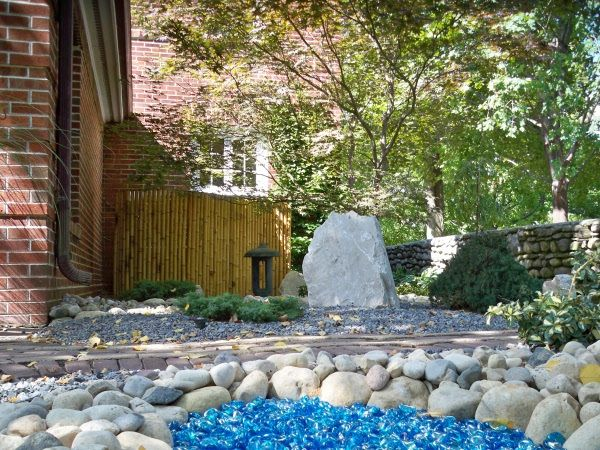 Blue Glass Pebbles For Landscaping In Back Yard