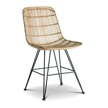 Rattanstuhl Geflochten Phily Ii Natur Metall 15920500 Stuhle Bistro Stuhle Design