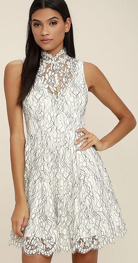 702fdc99e92d Keepsake Porcelain White Lace Skater Dress