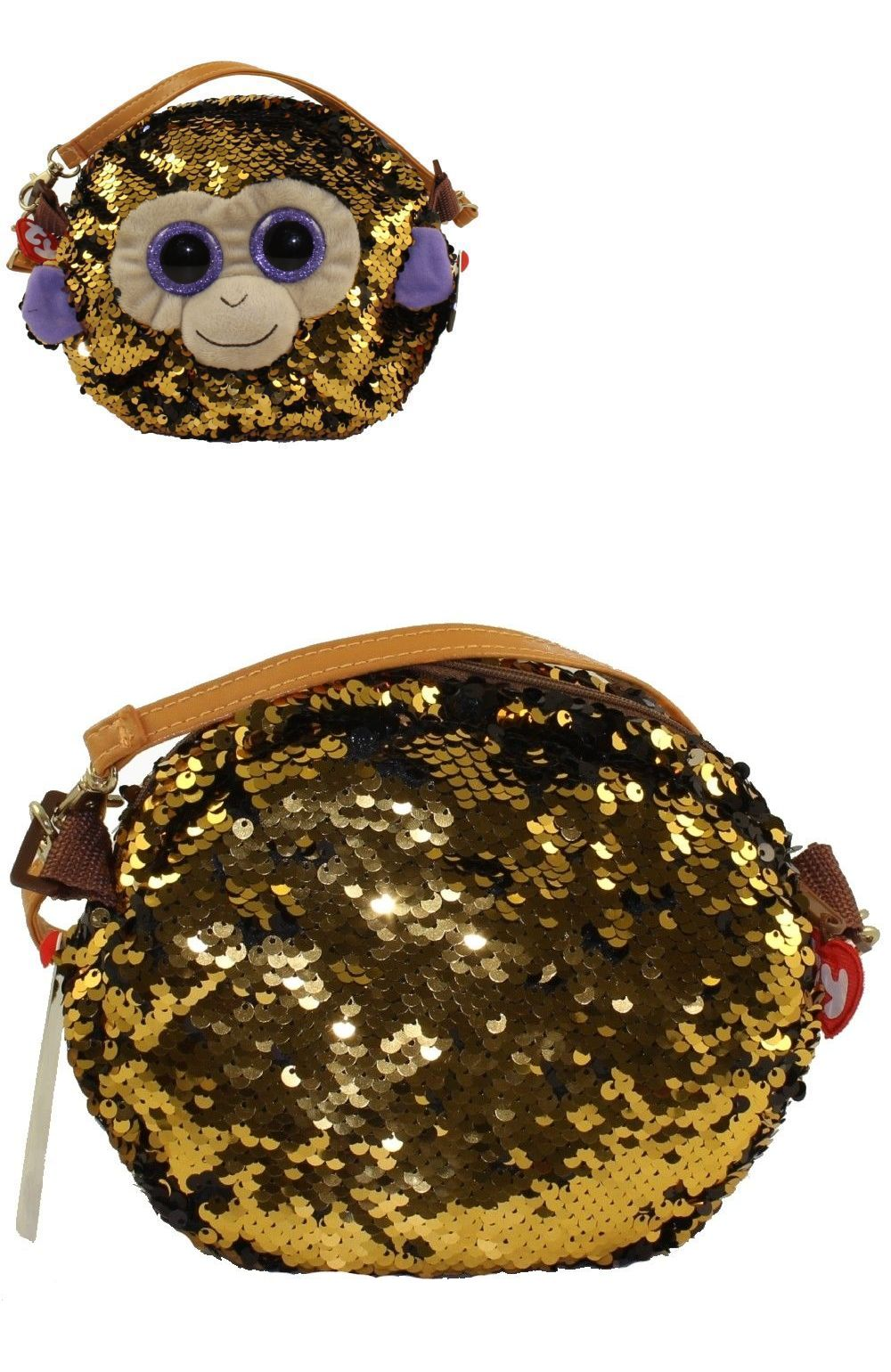 """2018 TY 8/"""" COCONUT Monkey Fashion Flippy Color Changing Sequin Glam Purse Strap"""