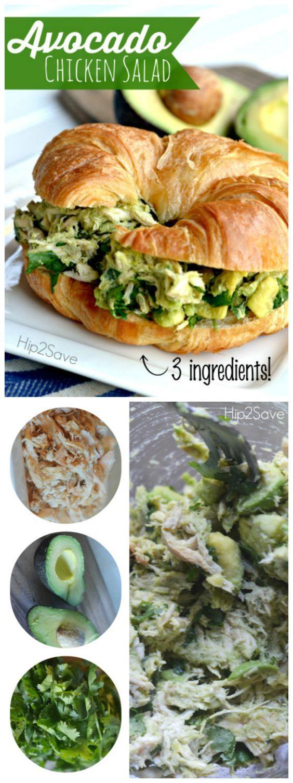 Avocado Chicken Salad (Only 3 Ingredients) #healthyavocadorecipes