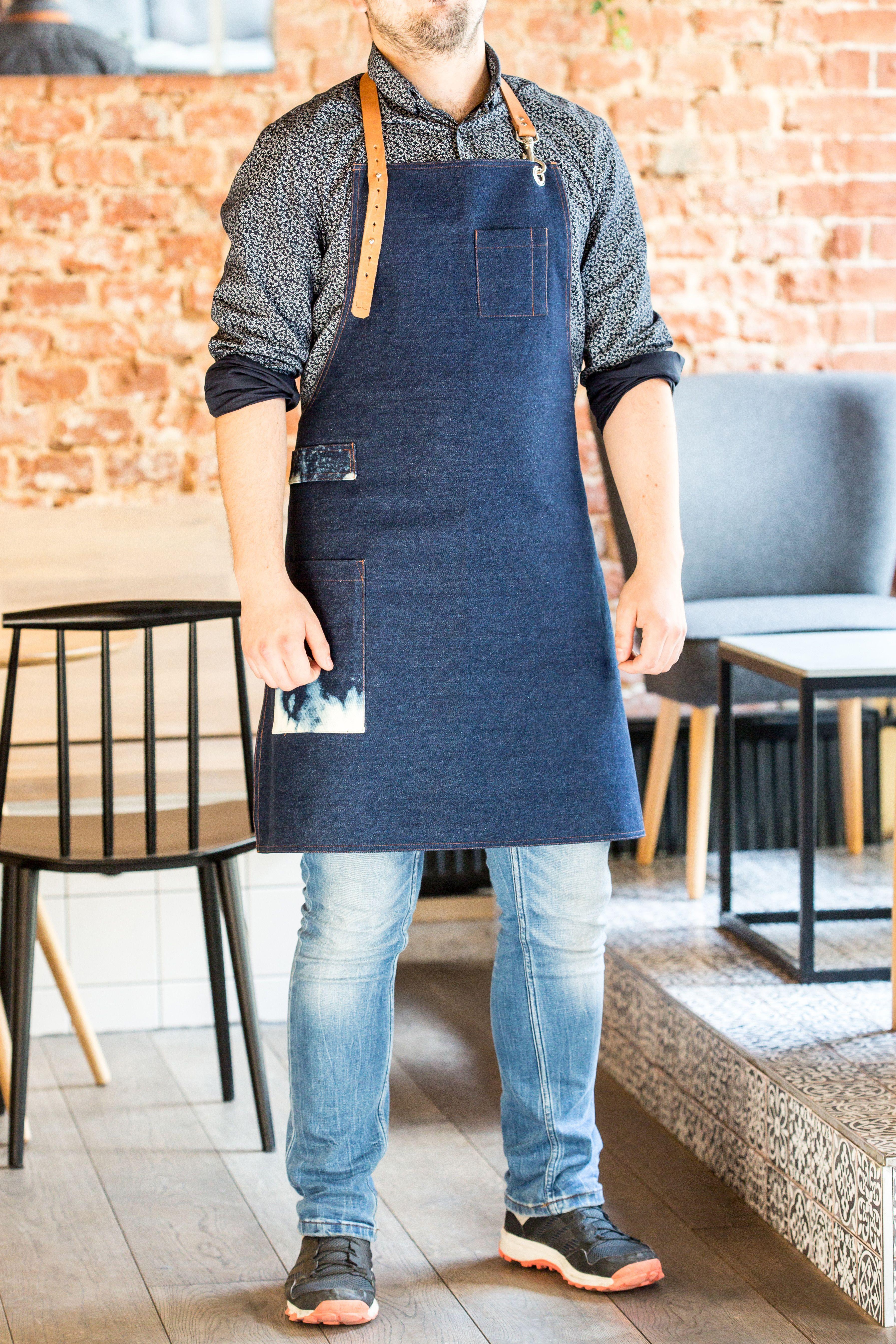 Barista Dark Blue Denim Apron. | Custom Made Aprons | Pinterest | Apron