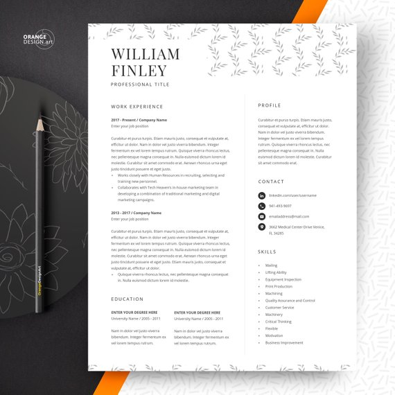 Simple Resume Template Creative Resume Professional CV 2 pages