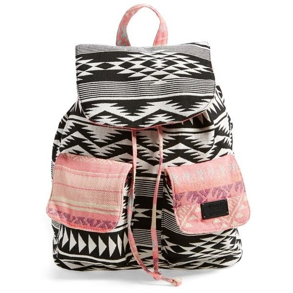 Junior Rip Curl 'Gypsy Road' Backpack (€56) ❤ liked on Polyvore featuring bags, backpacks, coral, slouchy backpack, knapsack bags, slouch backpack, slouch bag and print bags
