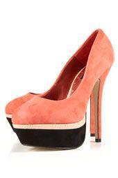 black and coral heels