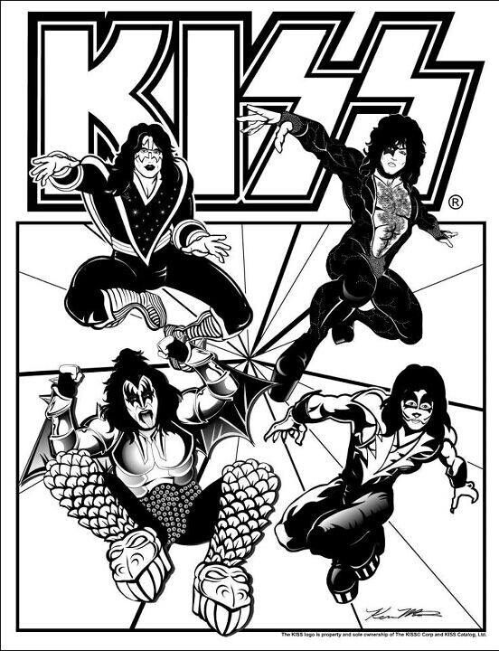 kiss coloring book page