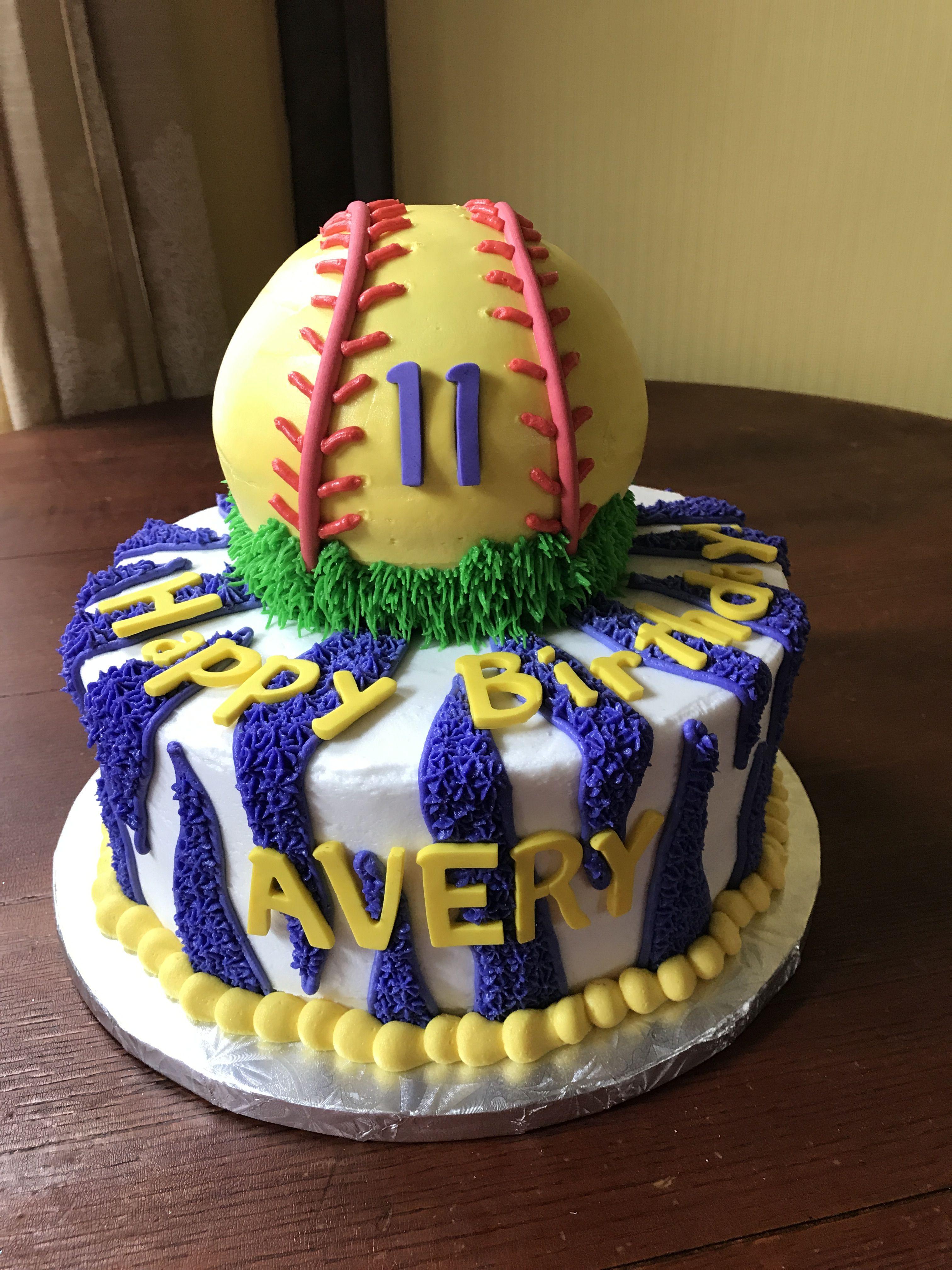Softball Birthday Cake My Cakes Pinterest Softball Birthday