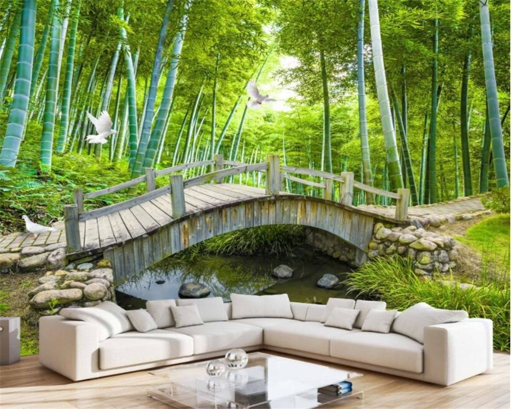 Beibehang Mural 3d Wallpaper Natural Bridge Water Bamboo Fo