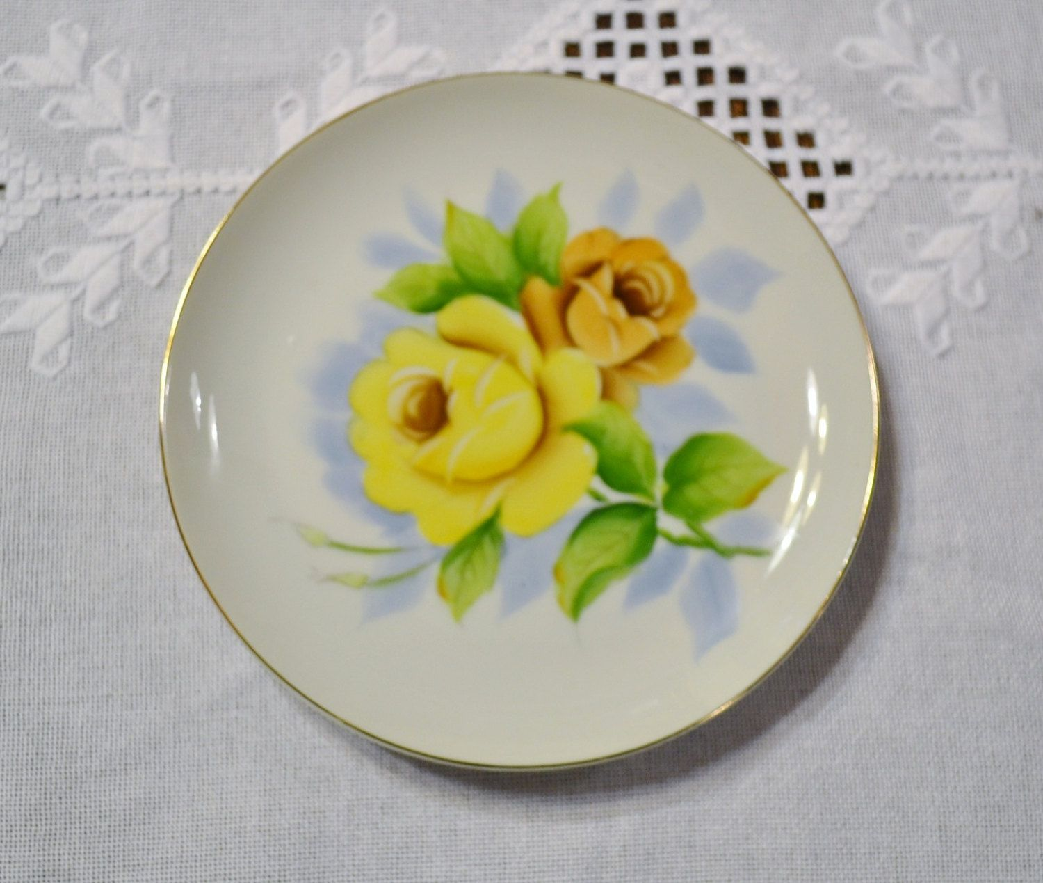 Vintage Decorative Plate Yellow Green Rose Floral Gold Rim Wall ...