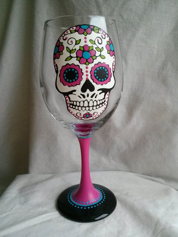7de9485217f7 Pink Sugar Skull Hand Painted Wine Glass Day of the Dead Dia De Los ...