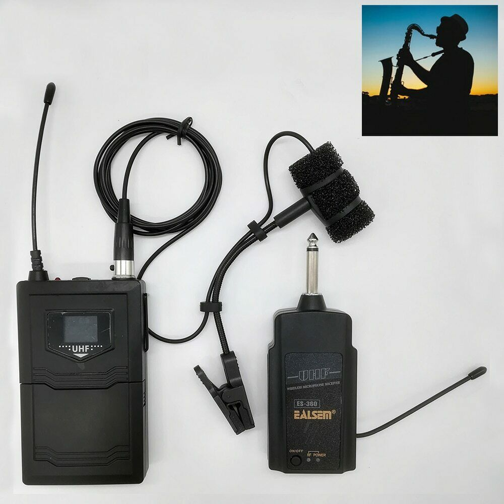 UHF Saxophone Mic Wireless Microphone System Clip on