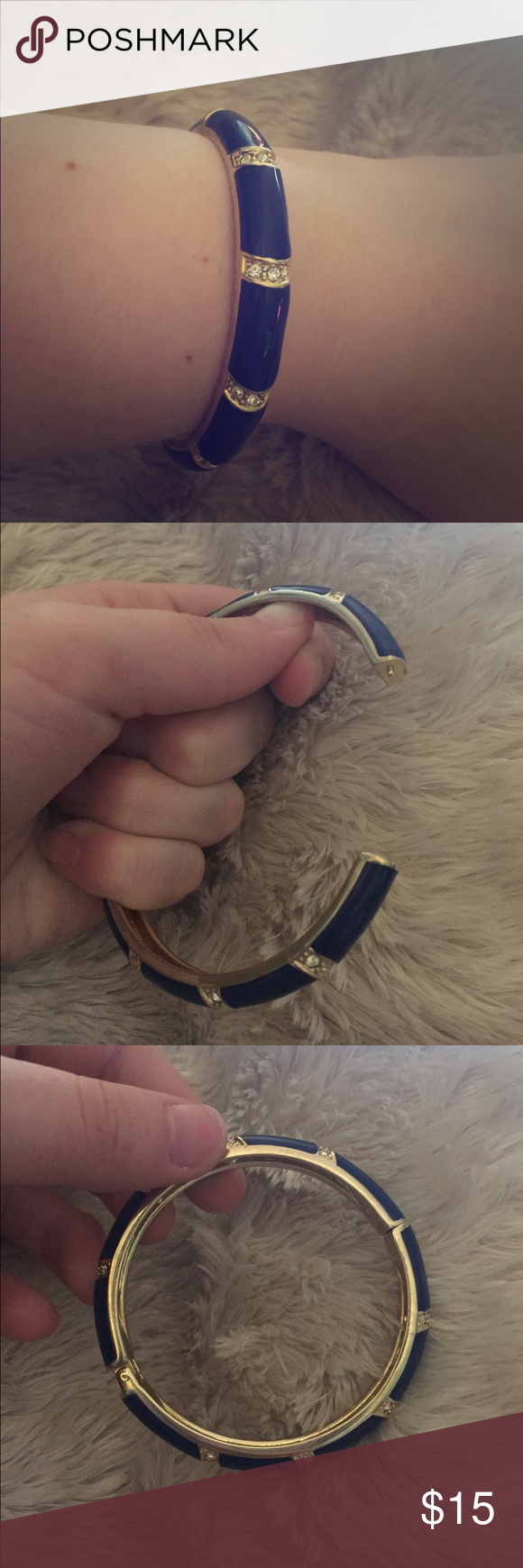 Navy and CZ Diamond Bracelet with Gold Band This adorable bracelet would go well with practically anything. It clamps shut and opens smoothly. It is in perfect condition, never worn but doesn't have tags or box. **bundle to save** Jewelry Bracelets