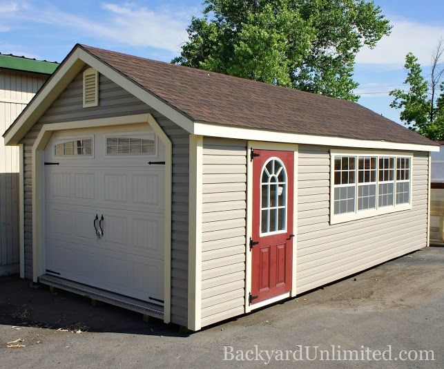 For Sale 12 X24 Garden Shed Garage With Heritage Garage Door Vinyl Siding 11 Lite Painted Fiberglass Door 2 Addition Outdoor Buildings Shed Sheds For Sale
