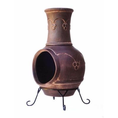 Clay Chiminea Gothic In Smoked Brown Kd 016 At The Home Depot Chiminea Chiminea For Sale Fire Pit Heater