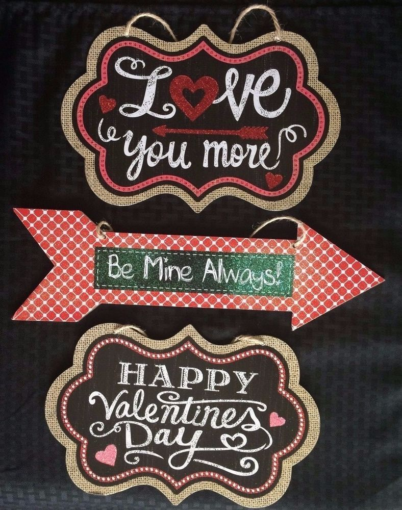"""Valentines Novelty Wood Signs 16""""-12"""" Wide 3 Styles U Choose~Wreath~Party Decor   
